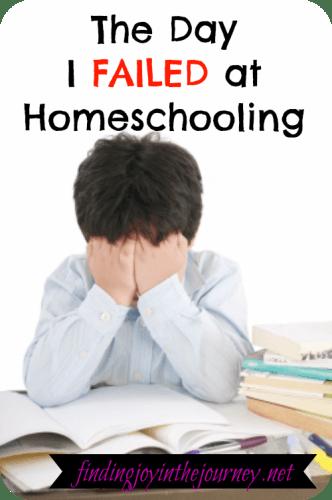 Failed at homeschooling