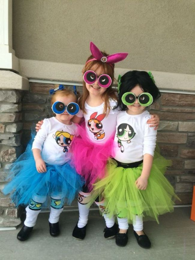 Power Puff Girls Halloween costumes for sisters