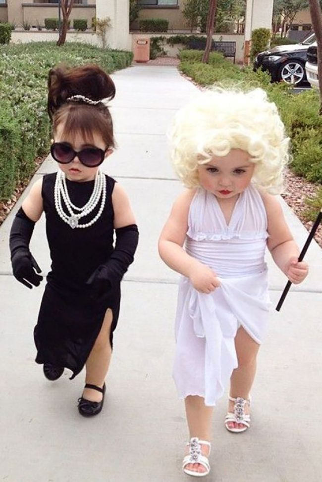 Audrey and Marilyn Halloween costumes for sisters