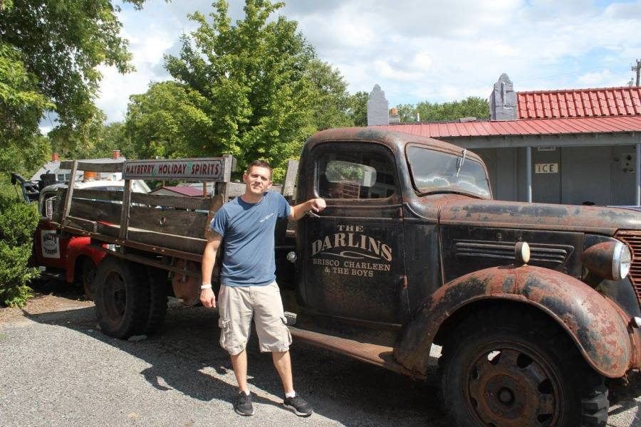 Picture with the Darlin boys truck at Wally's Service Station