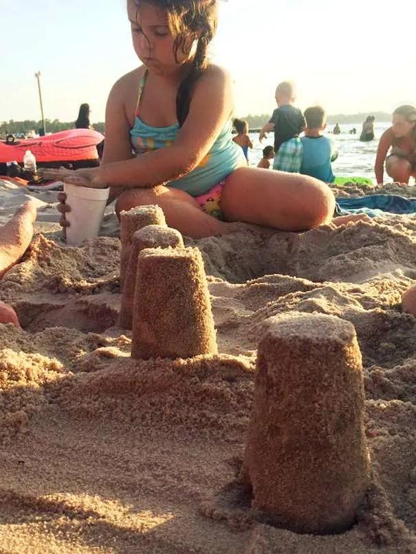 Building sand castles at White Lake, North Carolina.