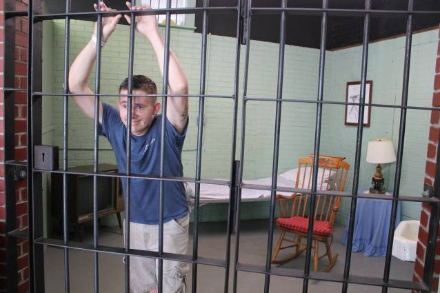 Locked in Otis's cell at the Mayberry Courthouse Replica