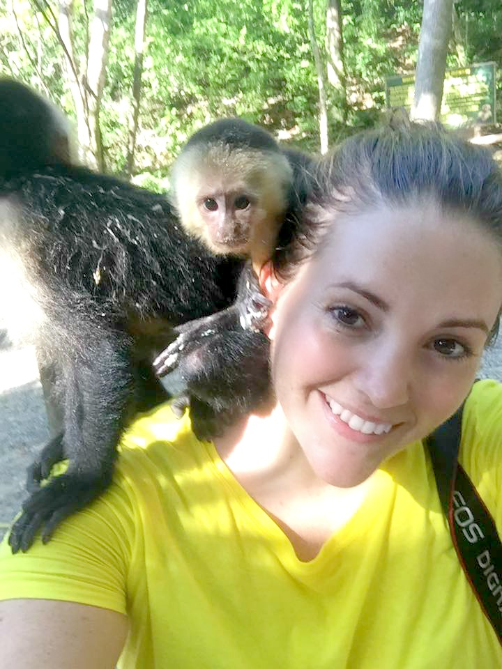 things to do in Roatan hold the monkeys in Gumbalimba Park