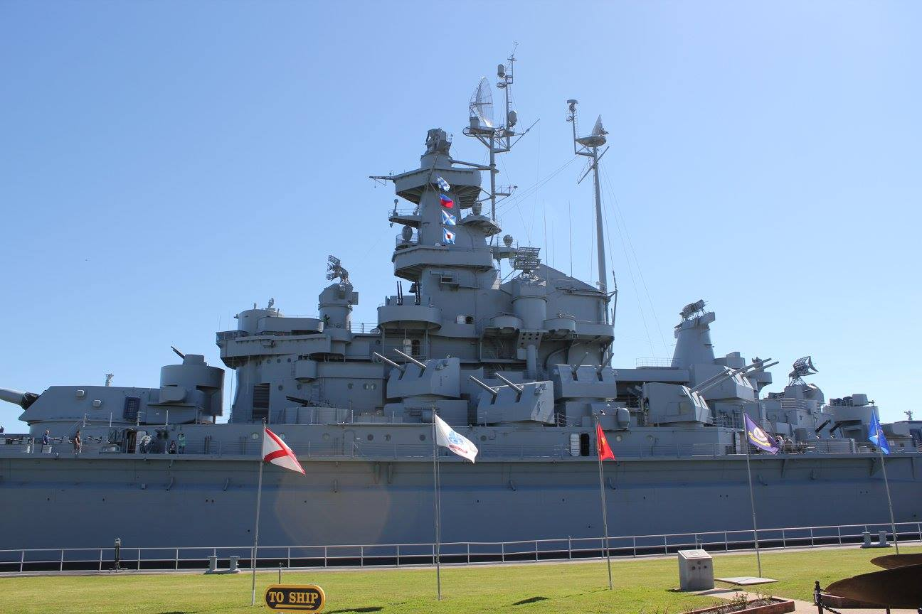 view of the USS Alabama in the Mobile Bay