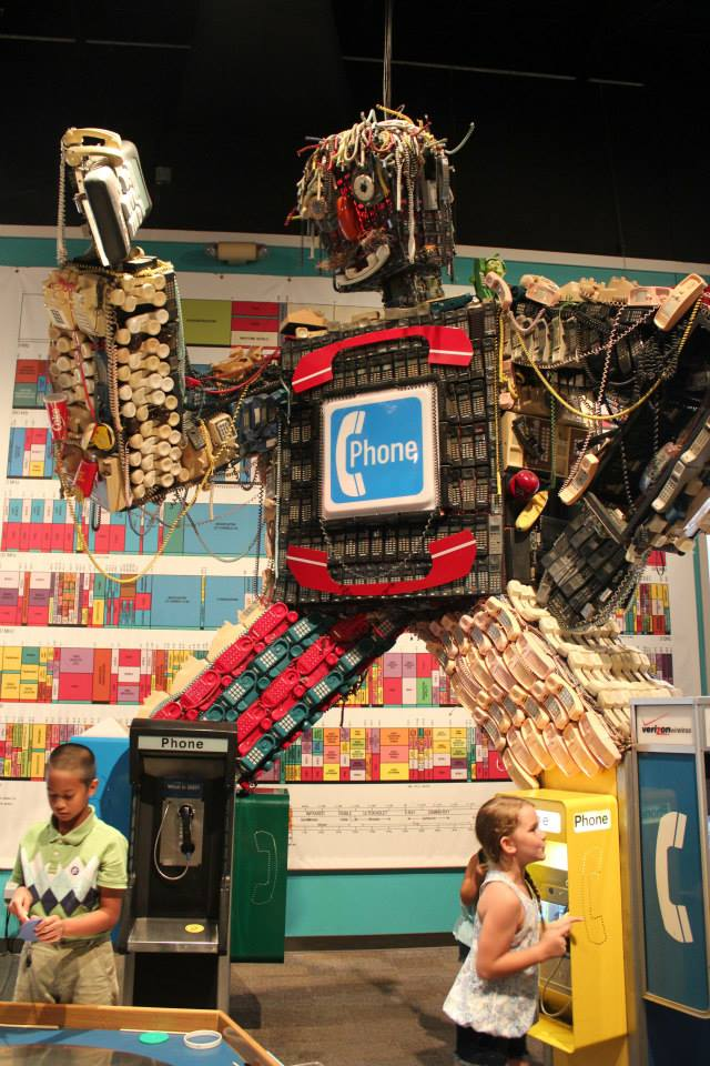 robot sculpture made of used phones at the Children's Museum in Houston