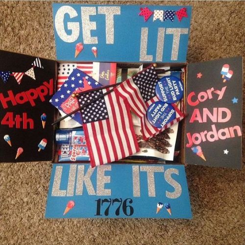 4th of July Care Package that says: Get Lit Like It's 1776, Happy 4th Cory and Jordan!