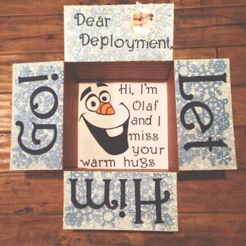 Christmas care package for military featuring Olaf: Dear Deployment, Let him go! Hi, I'm Olaf and I miss your warm hugs.