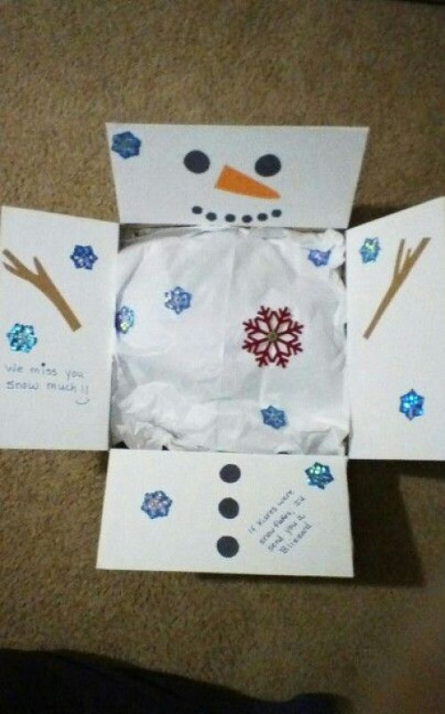 Christmas care package decorated as a snowman