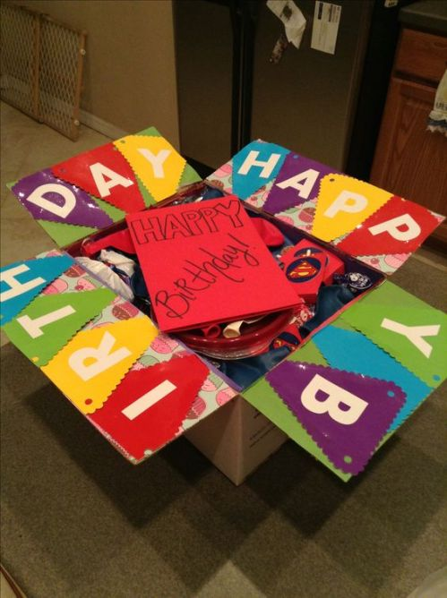 birthday care package decorated with colorful pennants