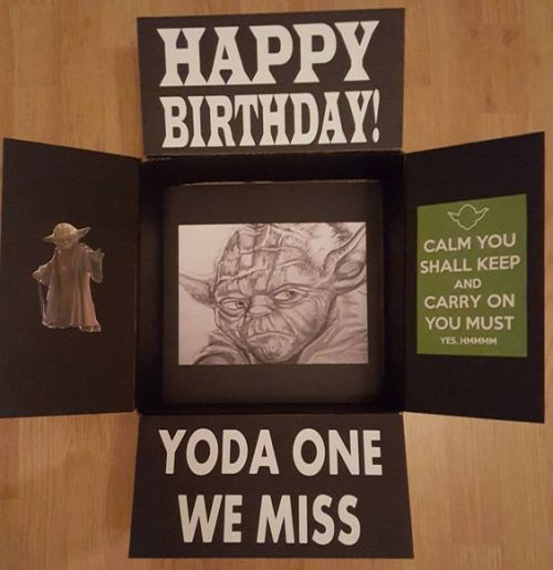 """Star Wars birthday care package that says, """"Yoda one we miss!"""""""