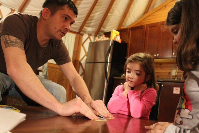 playing games while glamping at Shenandoah Crossing in Virginia