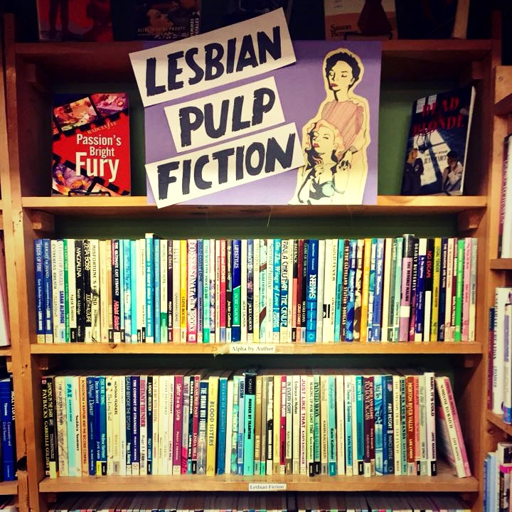 Lesbian Pulp Fiction genre at Recycled Books in Denton.