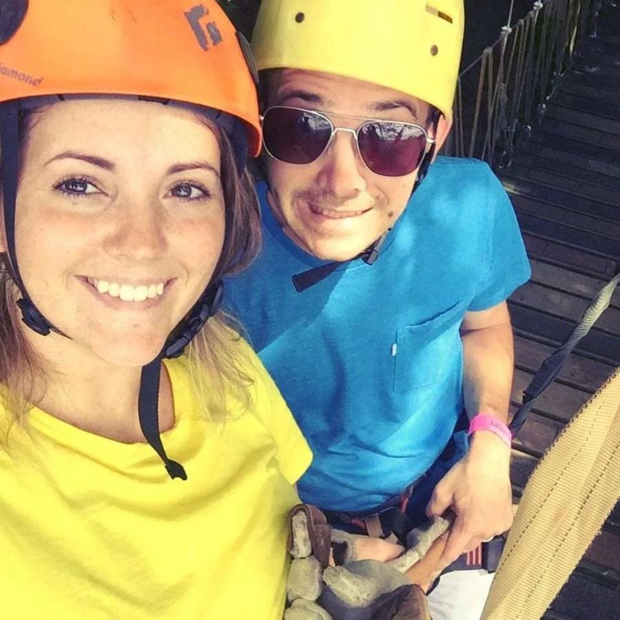 Zip-Line tour in Gumbalimba Park in Roatan, Honduras.