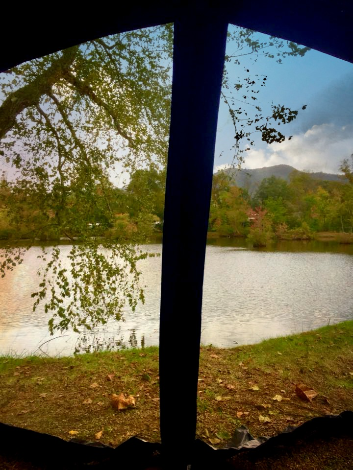 The view from our tent at Asheville KOA East.