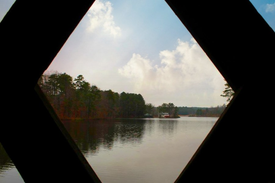 View of Stone Mountain Lake from the covered bridge.