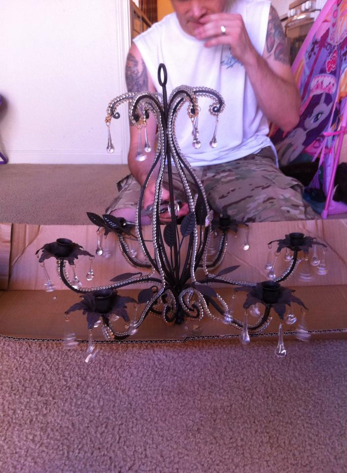 The before picture of the mason jar chandelier.