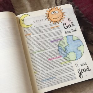 The creation story in my journaling Bible.