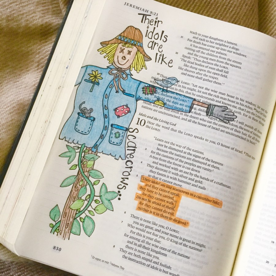 Scarecrow drawing in my art journaling Bible.