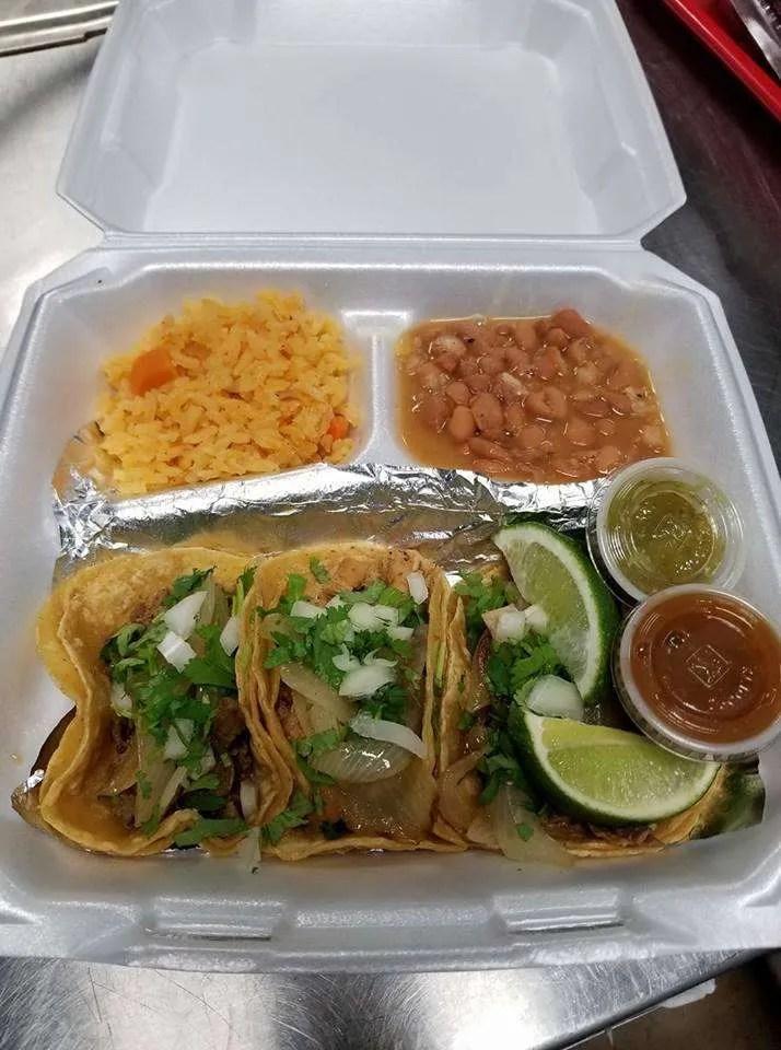Street tacos from a restaurant inside the Bragg Blvd Flea Market.