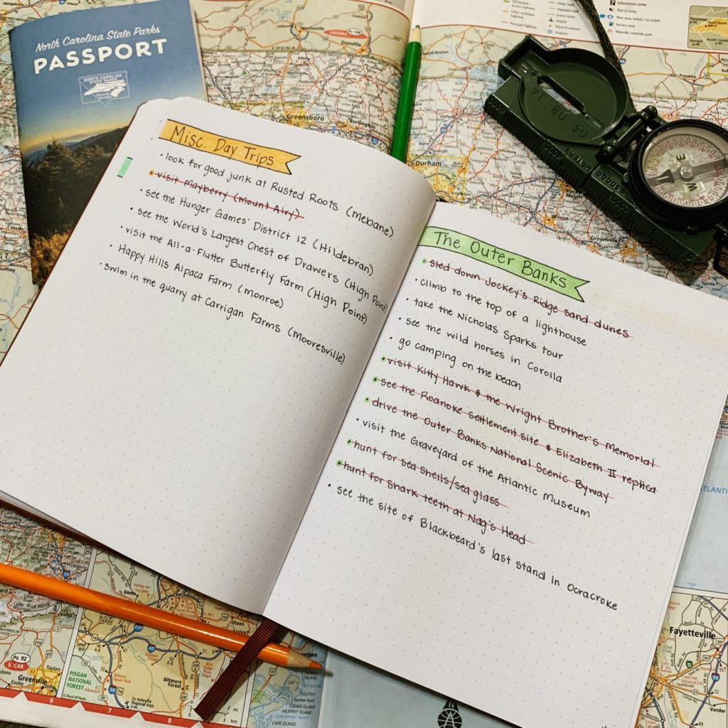 I wrote down our Fort Bragg Bucket List in my bullet journal.