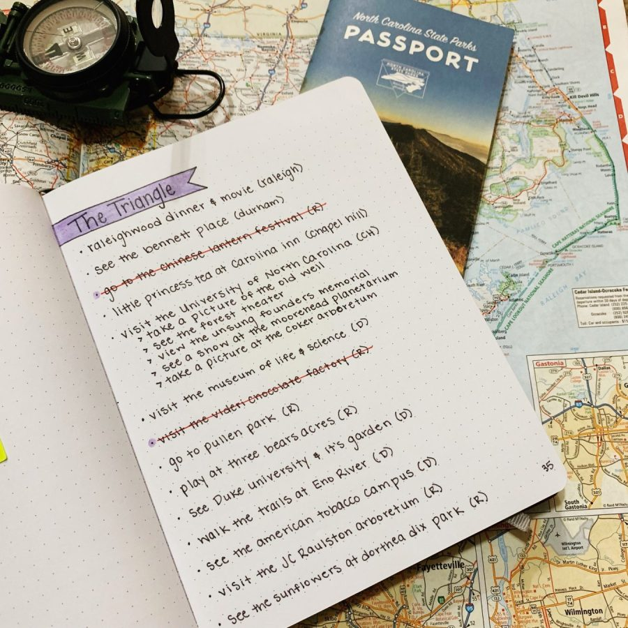 My Fort Bragg and North Carolina Bucket List in my travel bullet journal.