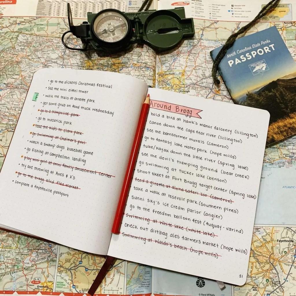 Part of my North Carolina Bucket List in my travel bullet journal.