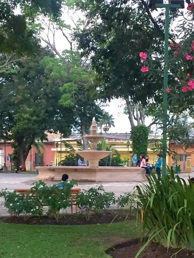 The fountain in the town square in Comayagua.