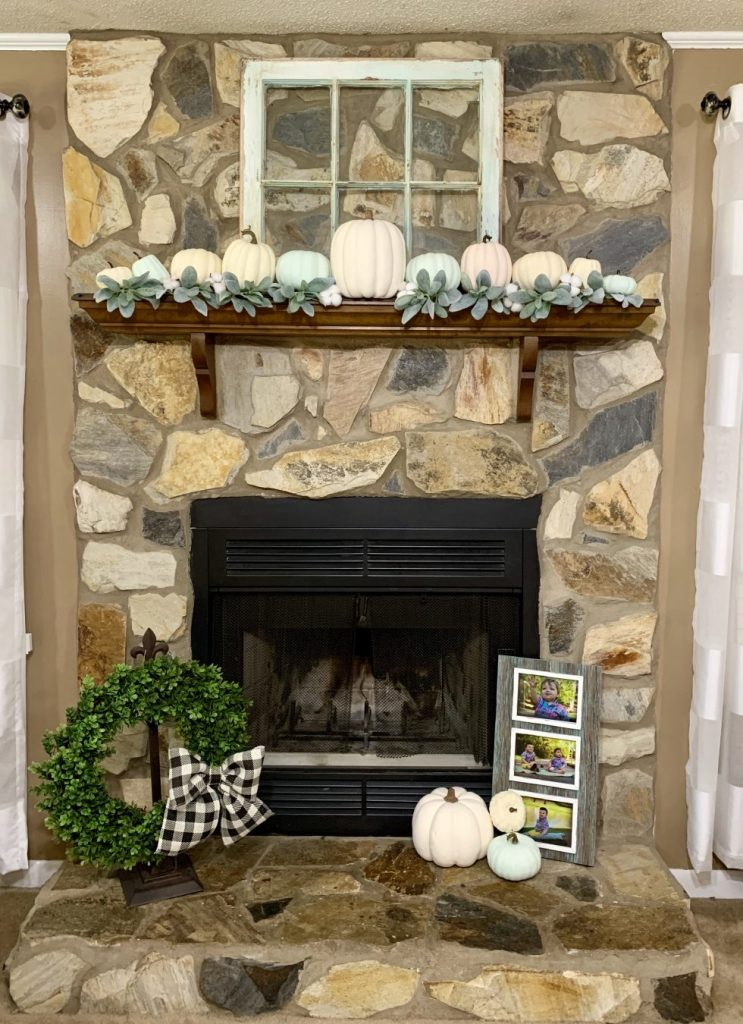 My mantel after finishing the easiest DIY farmhouse pumpkins ever!