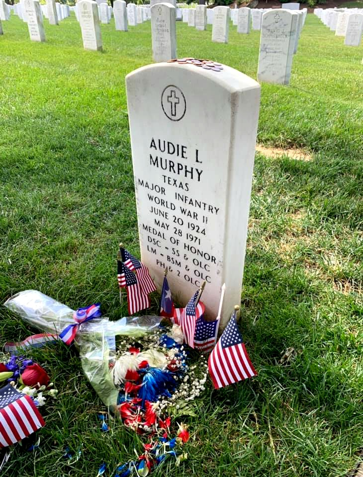 Audie Murphy's grave at Arlington National Cemetery.