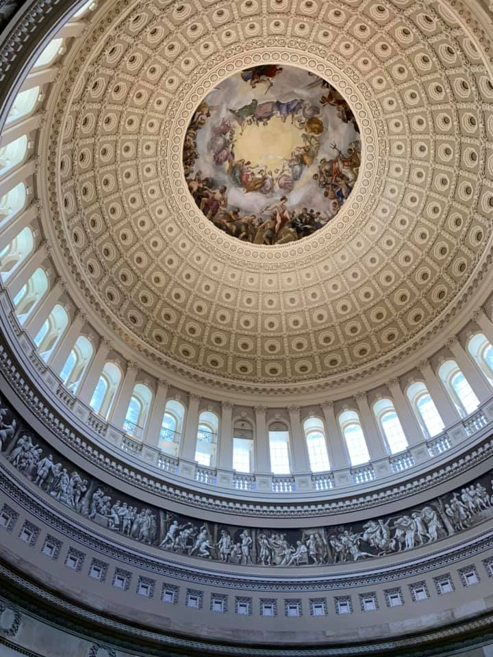 The 'Apotheosis of Washington' painting on the ceiling of the Capitol's dome.