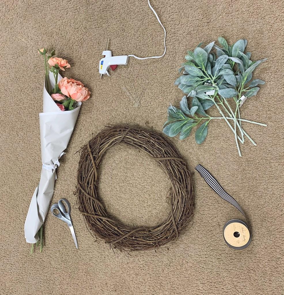 Supplies needed to make peony wreath.
