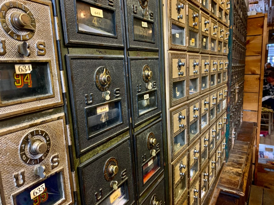 Post Office boxes at Mast General Store in Valle Crucis.