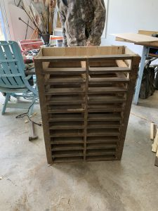 After the frame was built for the vintage hardware cabinet.