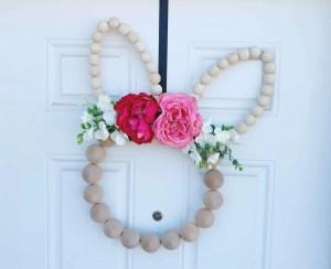 DIY Wood Bead Easter Bunny Wreath Tutorial | Finding Mandee