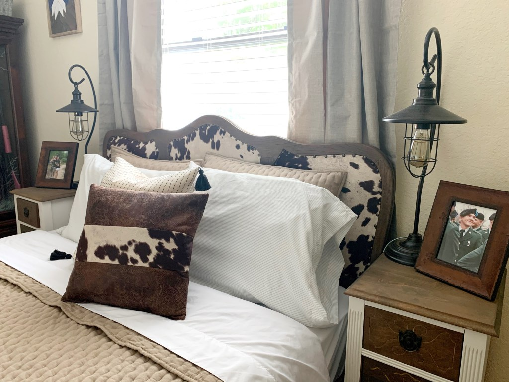 The finished DIY upholstered headboard!