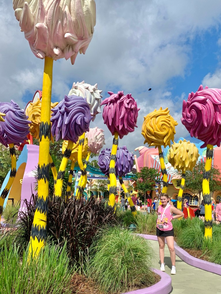 The Street of the Lifted Lorax at Seuss Landing.
