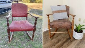 Before and after of a refurbished antique rocking chair.