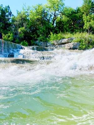 Natural waterfall at Blue Hole Park.