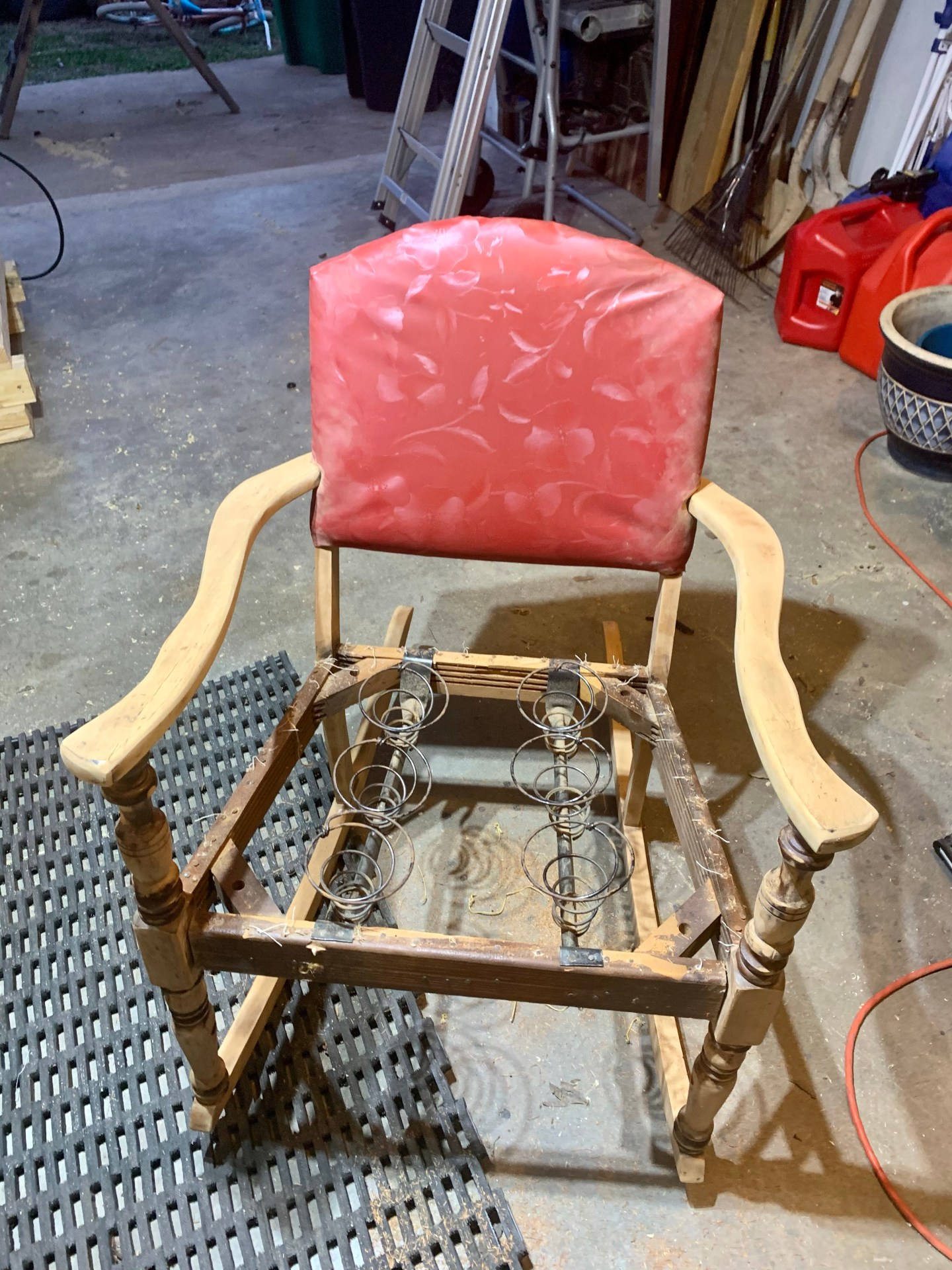 Refurbish an old rocking chair: take the upholstery off.