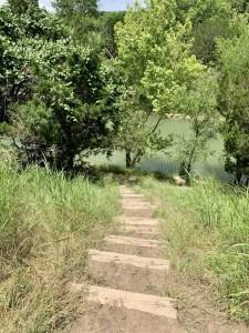 The hike to Chalk Ridge Falls runs along the Lampasas River.