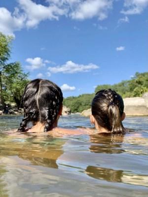 Swimming at Pedernales Falls State Park.