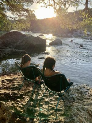 Sitting along the bank of the Pedernales River.