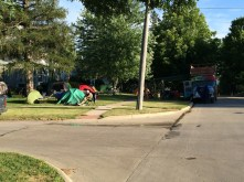 Cyclists camping on people's lawns