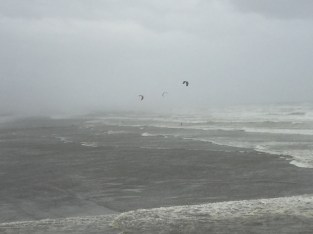 Kitesurfers taking advantage of the high winds