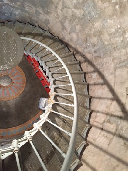 Looking down lighthouse stairs