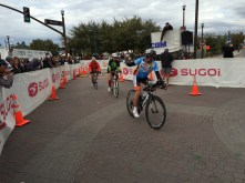 Bicyclists starting the course