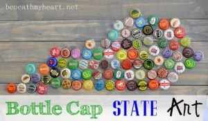 Outline of a State filled in with Bottle Caps