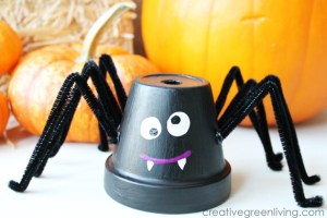 halloween spider made from a flower pot
