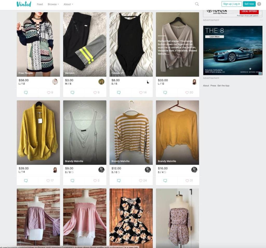 screenshot of Vinted.com
