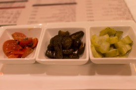 Pickles and tomatoes.
